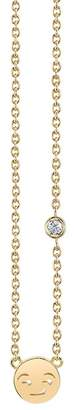 Sydney Evan Syd by 14K Yellow Gold Plated Sterling Silver Diamond Smirk Emoji Pendant Necklace - 0.015 ctw