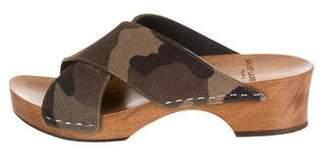 Saint Laurent Suede Flat Sandals