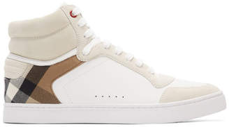 Burberry White Reeth High-Top Sneakers