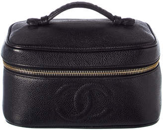 Chanel Black Caviar Leather Horizontal Cosmetic Case