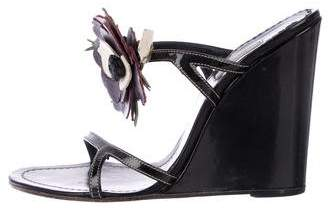 Prada Floral Patent Leather Wedges