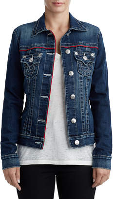 True Religion WOMENS PIPED TRUCKER DENIM JACKET