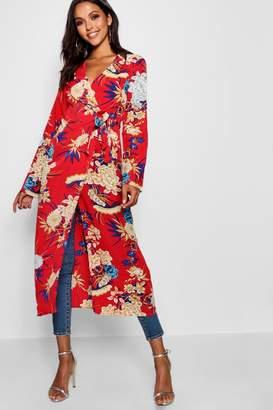 boohoo Floral Print Wrap Kimono