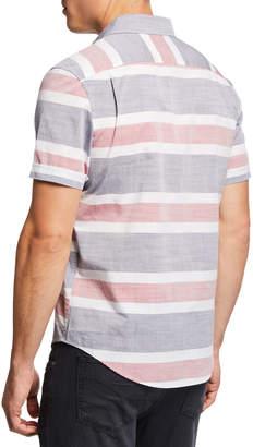 Original Penguin Men's Button-Down Short-Sleeve Striped Shirt