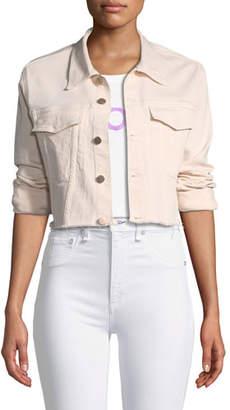 DL1961 Premium Denim Shawn Button-Front Cropped Denim Jacket