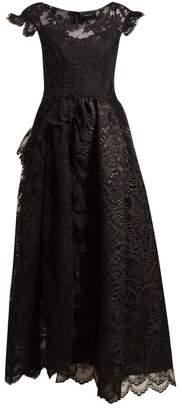 Simone Rocha Asymmetric Brocade Tulle Dress - Womens - Black