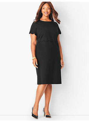 Talbots Refined Scallop-Sleeve Ponte Dress - Black