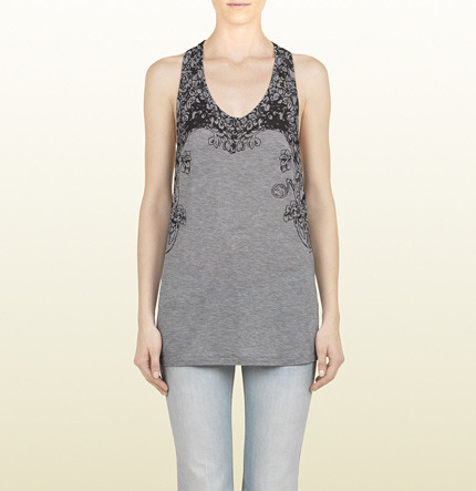 Gucci Gray Jersey Racerback Tank With Tree Print
