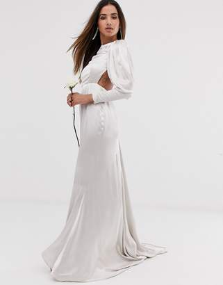 b6e5b20da6dcc Asos Edition EDITION satin fishtail wedding dress with dramatic sleeve
