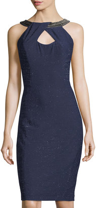 JAX Embellished-Neck Sleeveless Sheath Dress $99 thestylecure.com