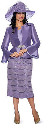 GIOVANNA COLLECTION Giovanna Collection Women's Silk Wool and Tiered Lace 3-piece Skirt Suit