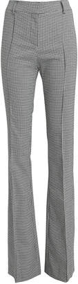 Veronica Beard Hibiscus Houndstooth Flared Trousers