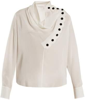 Chloé Asymmetric scallop-trimmed silk top
