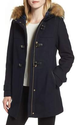 Cole Haan Signature Hooded Duffle Coat with Faux Fur Trim