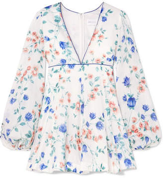 Alice McCall Bluebell Floral-print Cotton And Silk-blend Mini Dress - White