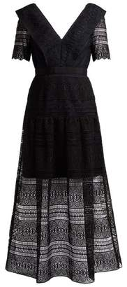 Self-Portrait Self Portrait Spiral Lace Midi Dress - Womens - Black