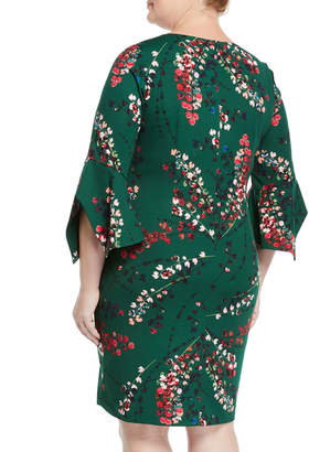 Taylor Cherry Blossom Bell-Sleeve Sheath Dress, Plus Size