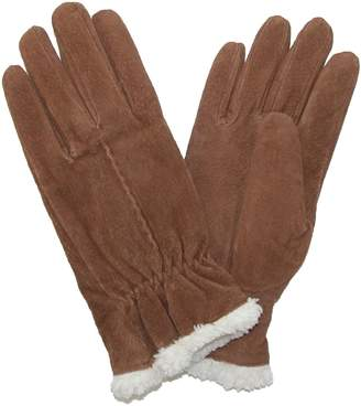 Isotoner totes Womens Suede with Sherpa Spill Winter Gloves, Xlarge