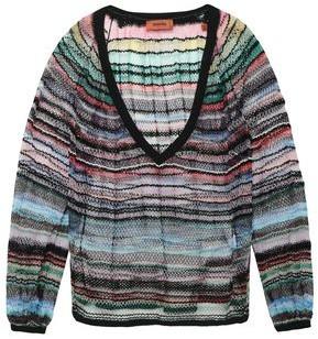 Missoni Metallic Striped Crochet-knit Cotton-blend Sweater