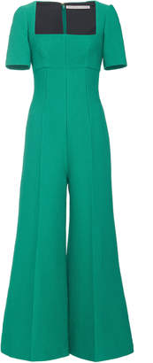 Emilia Wickstead Audie Pleated Wide Leg Cloqué Jumpsuit