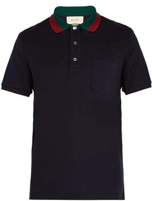 Gucci Web Striped Collar Polo Shirt - Mens - Navy
