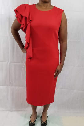 Lily & Taylor Red ruffle dress