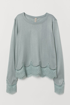 H&M Sweater with Lace Details - Turquoise
