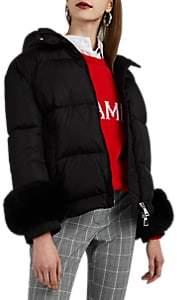 Moncler Women's Effraie Fur-Cuff Down Puffer Jacket - Black
