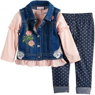 Little Lass Baby Girl Floral Denim Vest, Top & Leggings Set