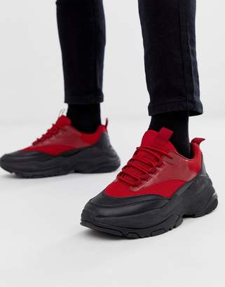 Asos Design DESIGN sneakers in red with chunky sole