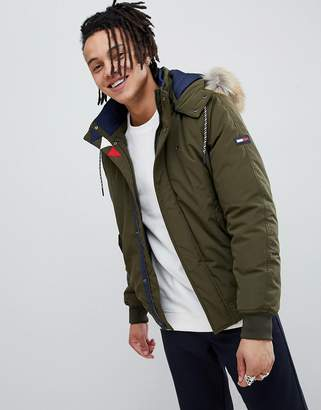 Tommy Jeans technical quilted bomber jacket faux fur trim hood in green