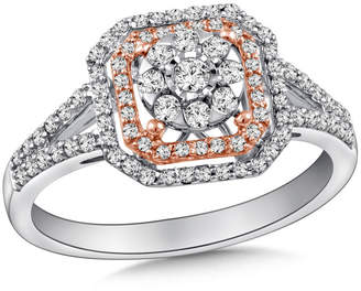 Zales 1/2 CT. T.W. Composite Diamond Double Octagon Frame Engagement Ring in 10K Two-Tone Gold
