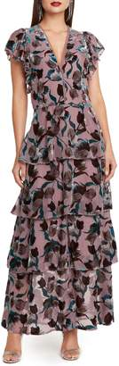 Willow & Clay Velvet Burnout Tiered Maxi Dress