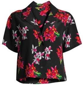 Rails Maui Floral Silk Short-Sleeve Blouse