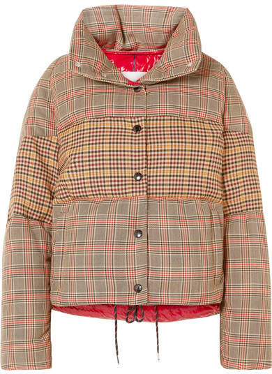 Paneled Checked Quilted Wool-blend Down Jacket - Brown
