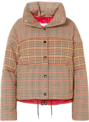 Moncler Paneled Checked Quilted Wool-blend Down Jacket