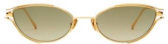 Linda Farrow Small Cat Eye Metal Sunglasses - Womens - Green
