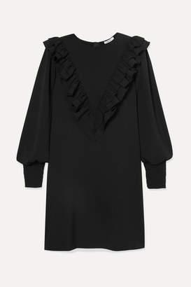 Ganni Ruffled Stretch-crepe Mini Dress - Black