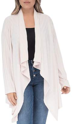Bobeau B Collection by Curvy Amie Ribbed Waterfall Cardigan