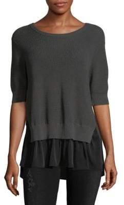 Autumn Cashmere Mock-Layered Cotton Sweater