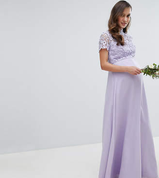 Chi Chi London Maternity 2 in 1 High Neck Maxi Dress with Crochet Lace