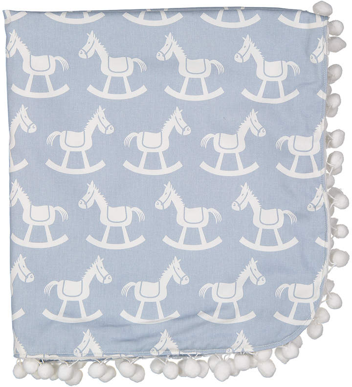 26'' x 28'' Light Blue Rocking Horse Receiving Blanket