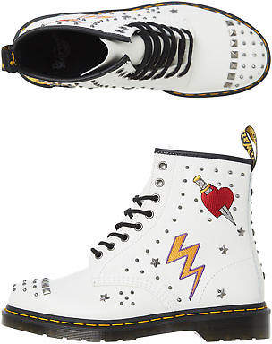 Dr. Martens New Women's Womens 8 Eye Stud Boot Rubber Leather White