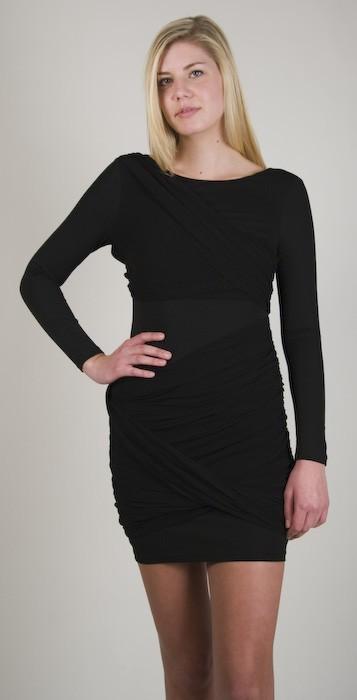 Blaque Label Chiffon Draped Dress in Black