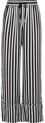 Lee Mathews - Nicolas Striped Silk-satin Wide-leg Pants - Black