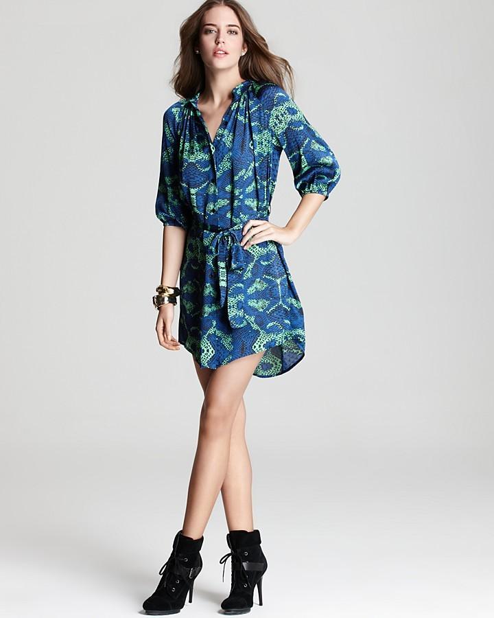 Aqua Dress - Belted Shirtdress