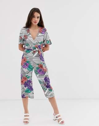 cc22b7191 Influence culotte jumpsuit in stripe floral mix