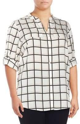 Calvin Klein Plus Gingham-Print Button-Down Shirt