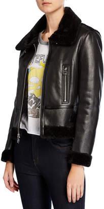 Kensie Faux-Shearling Buckle Moto Jacket