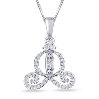 ENCHANTED FINE JEWELRY BY DISNEY Enchanted Disney Fine Jewelry 1/5 C.T. T.W. Diamond Cinderella Carriage Pendant Necklace In Sterling Silver
